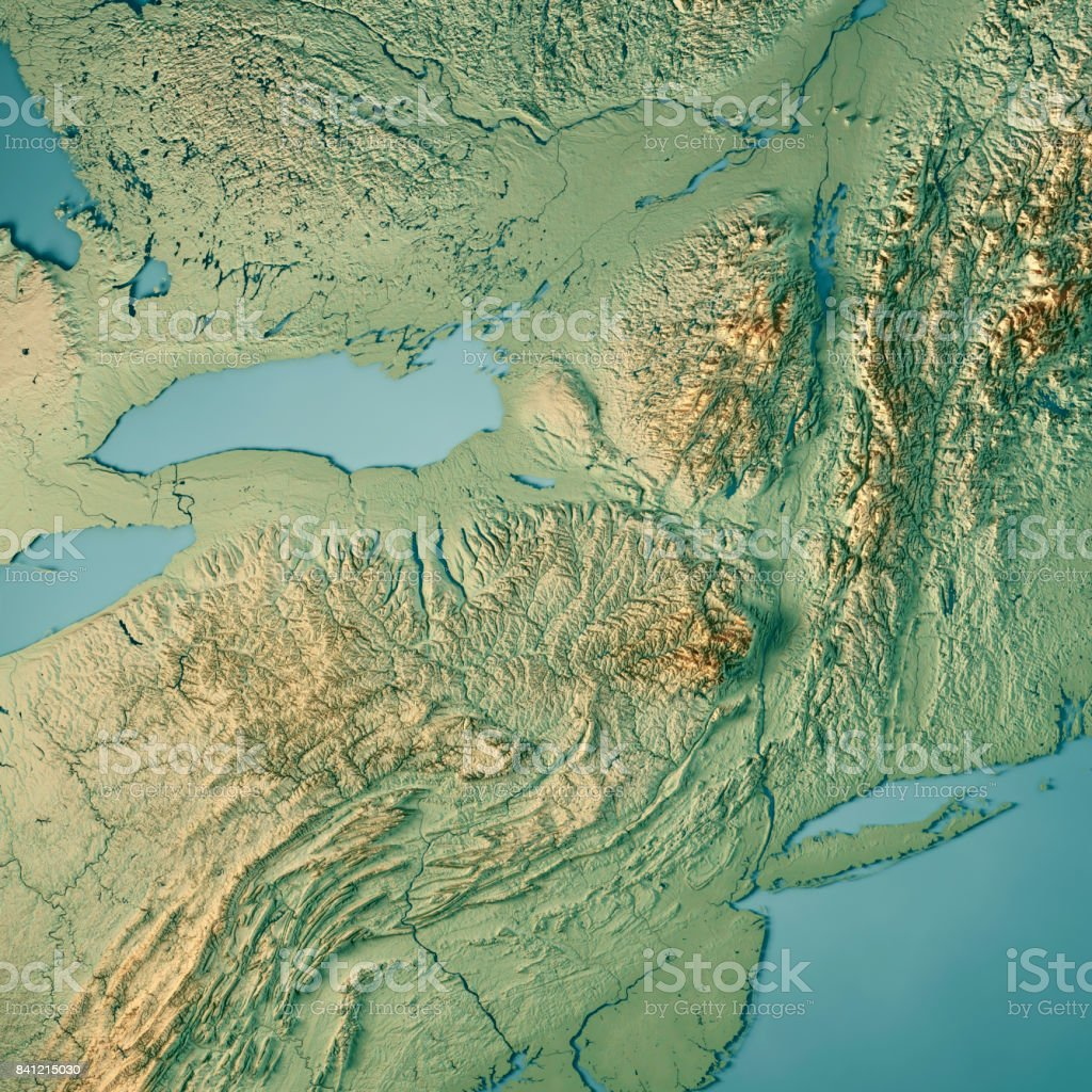 new york state usa 3d render topographic map stock photo