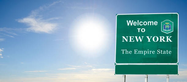 New York State, Welcome road sign stock photo