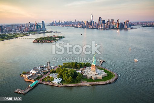 New York Statue of Liberty aerial view