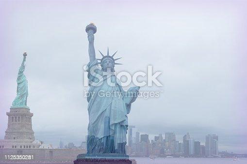 New York Staue of Liberty. Double exposure. Digital Composite