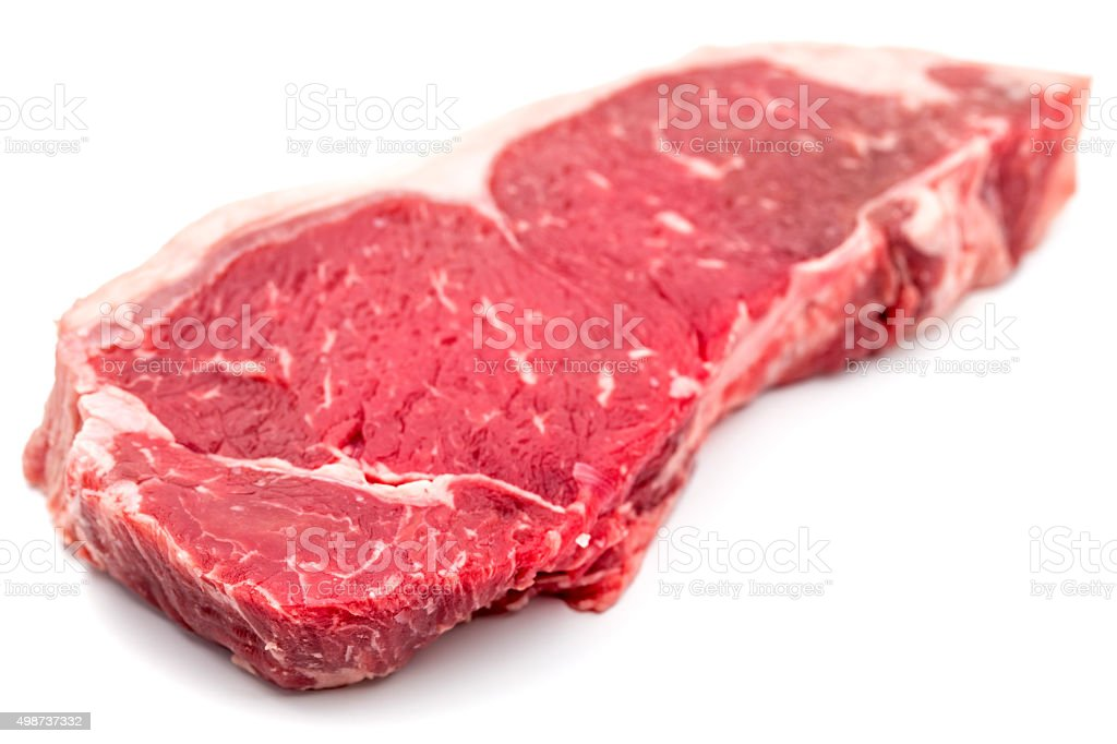New York Steak beef meat cut on white stock photo