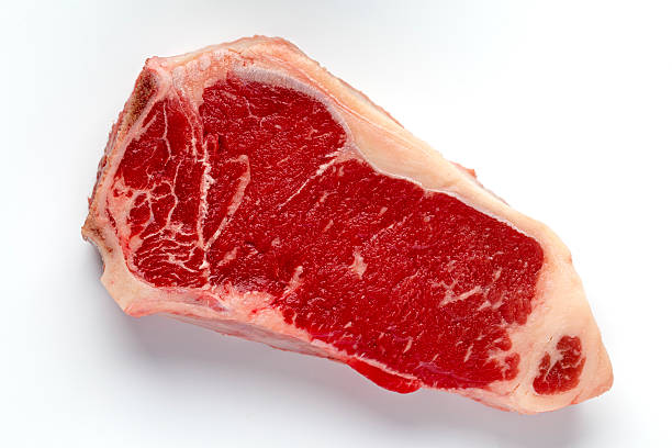 new york steak beef meat cut on white - strip steak stockfoto's en -beelden