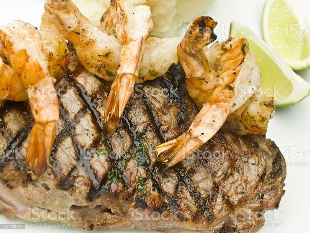 New York Steak with shrimps royalty-free stock photo