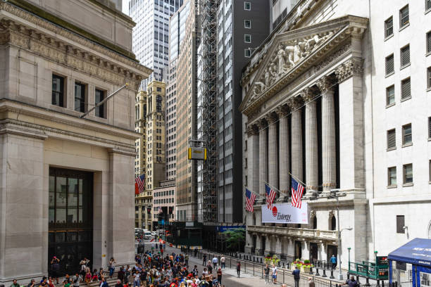 New York Stock Exchange building in Wall Street in Financial Dis stock photo