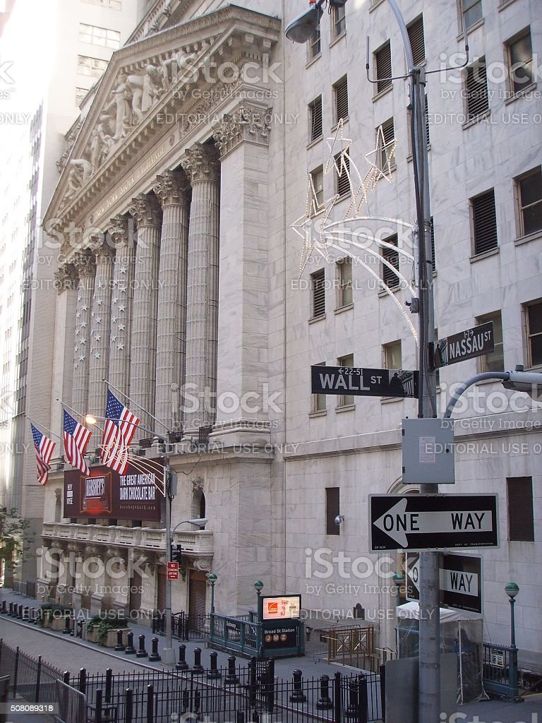 New York Stock Exchange Building with Hershey's Advertisement. stock photo