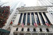 New York City, NY, USA – December 28, 2014: New York Stock Exchange Building and Christmas Tree.