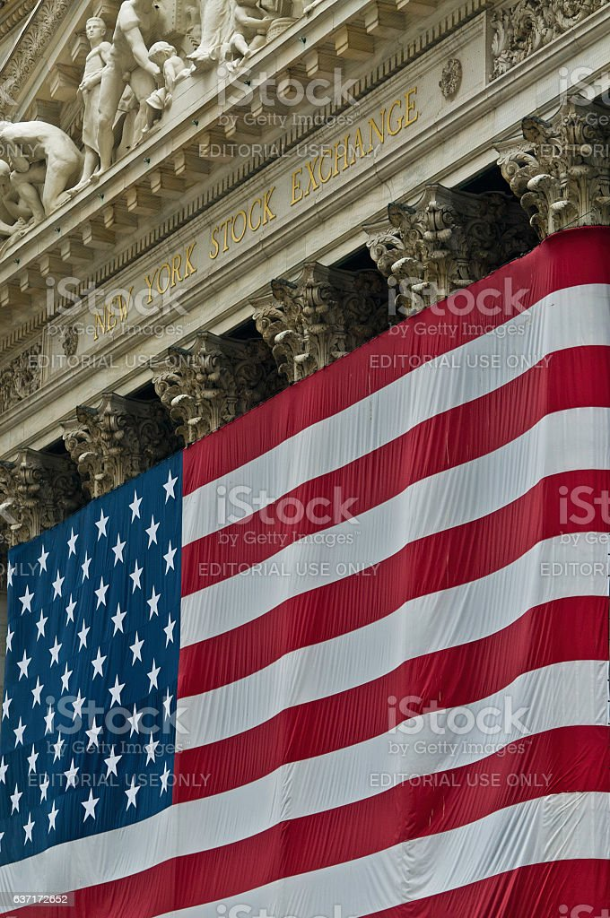 New York Stock Exchange Stars and Stripes Wall St USA stock photo