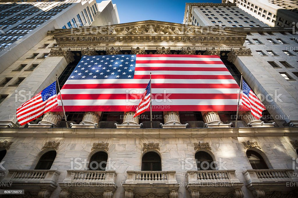 New York stock exchange, Wall Street, USA stock photo