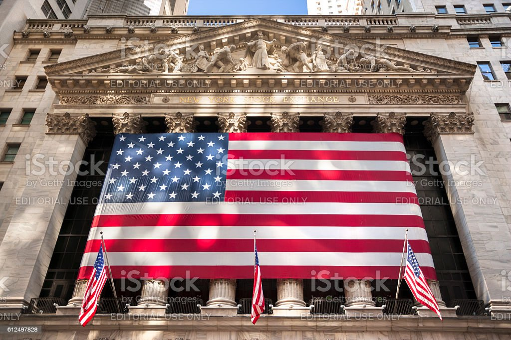 New York stock exchange, Wall Street, USA - foto de acervo