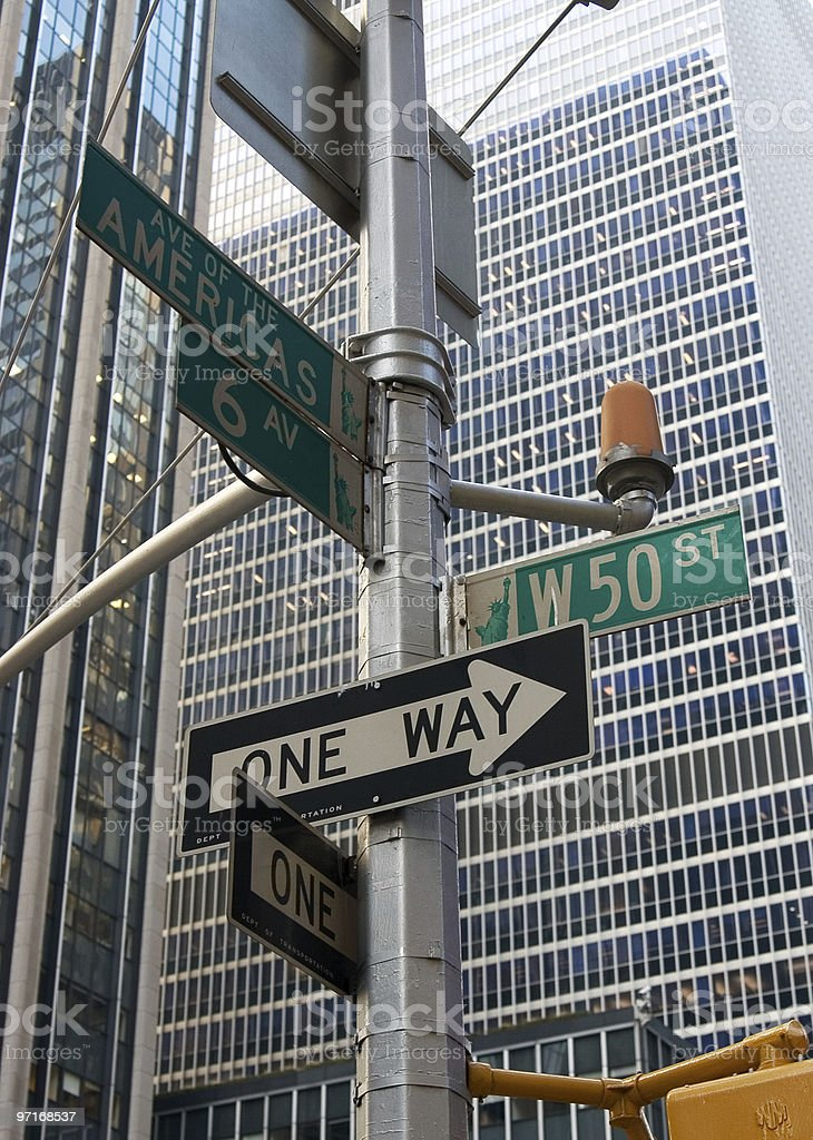 New York street sign Avenue of the Americas royalty-free stock photo
