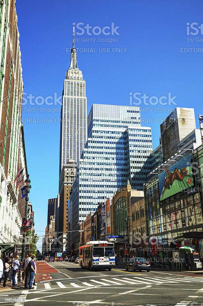 New York street with Empire State building royalty-free stock photo