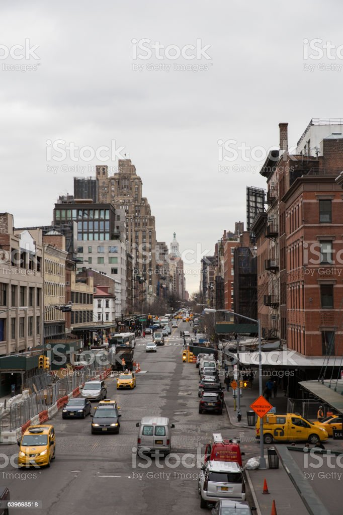 New York streets in cloudy weather stock photo