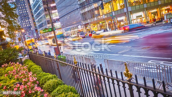 istock New York Streets with cars lights trails 668701644