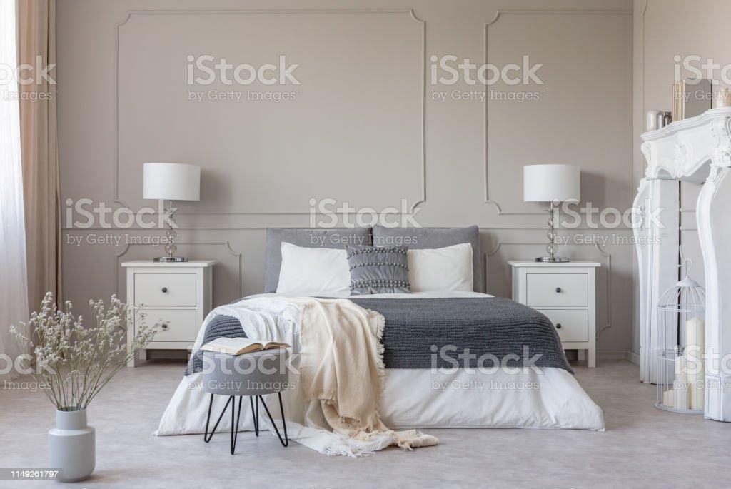 New York Style Bedroom Interior With Symmetric Design Copy ...