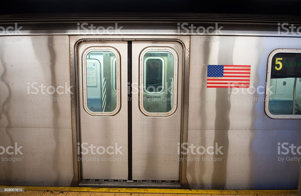 New York Subway at the station stock photo