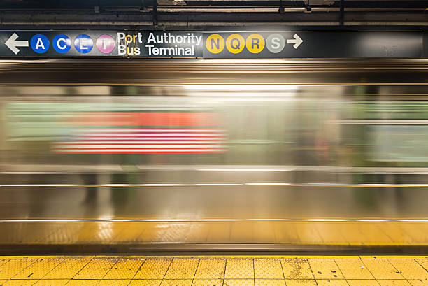 New York Subway An empty track of New York Subway when train passes by. subway platform stock pictures, royalty-free photos & images