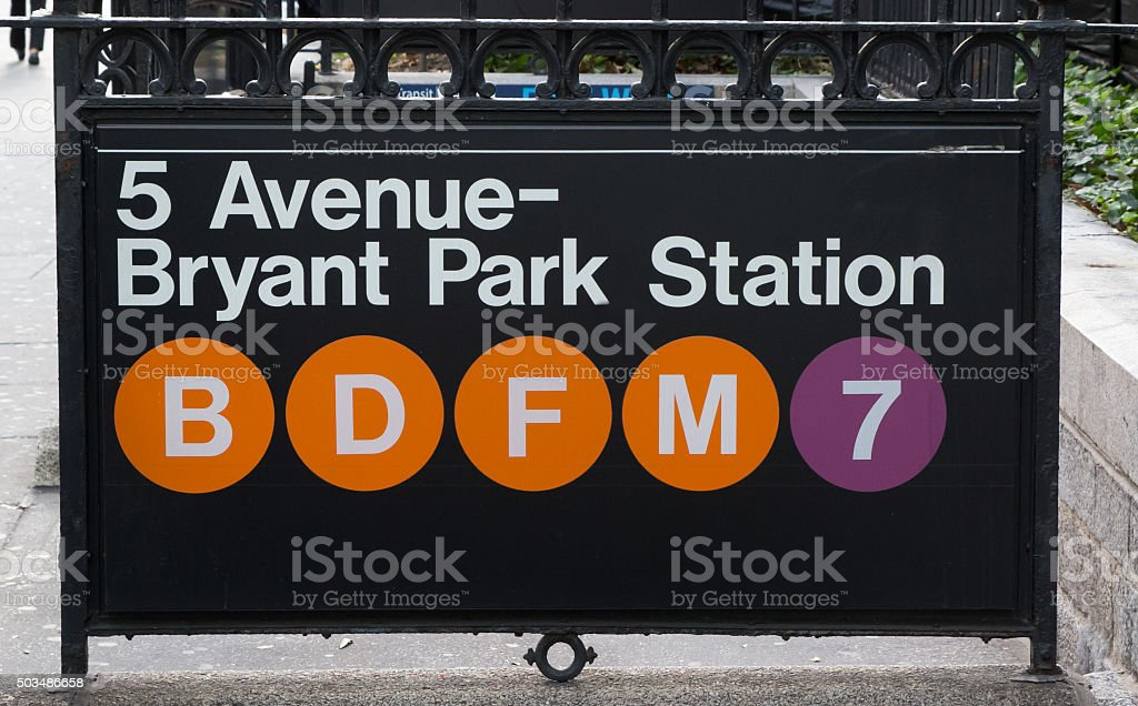 New york subway sign at Bryant Park Station stock photo