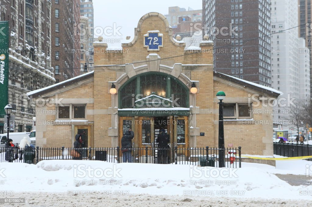 New York Subway station at 72nd street on snowy day. stock photo