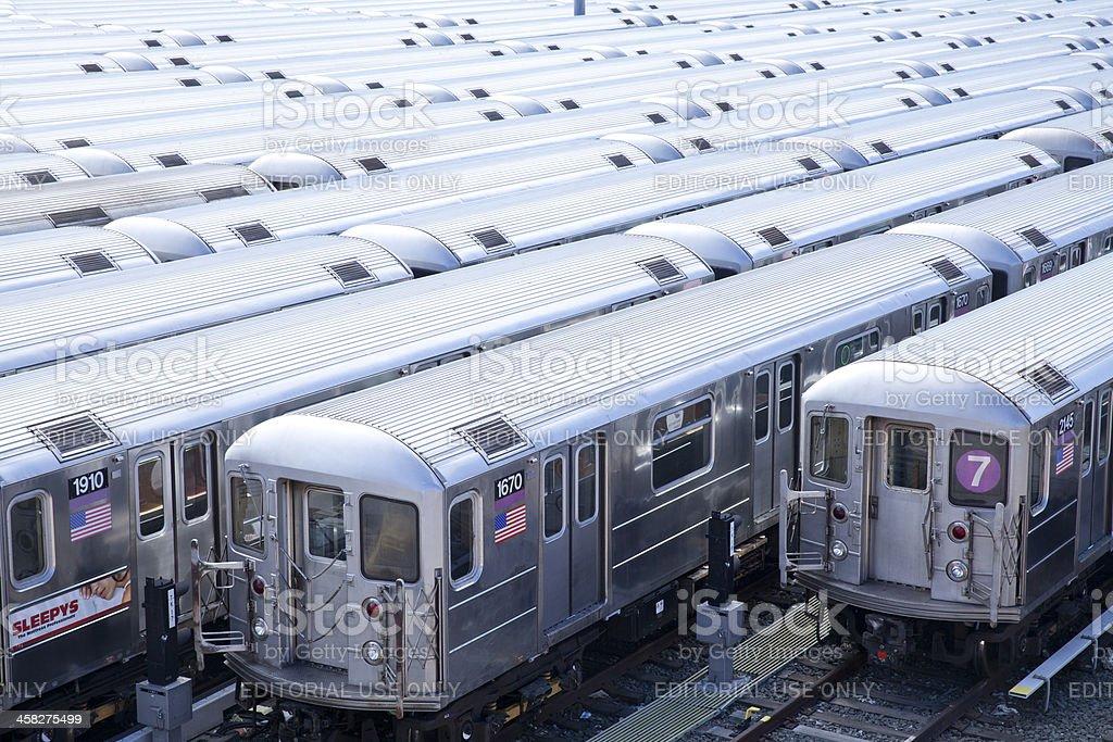 New York subway trains stock photo