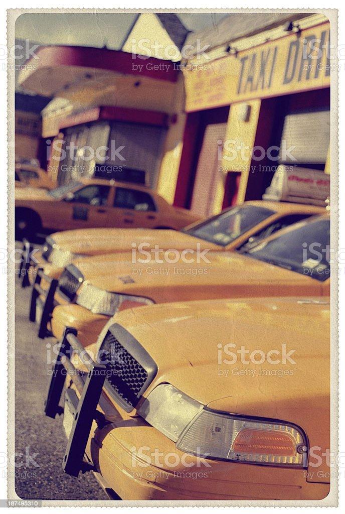 New York Taxi Depot - Vintage Postcard stock photo