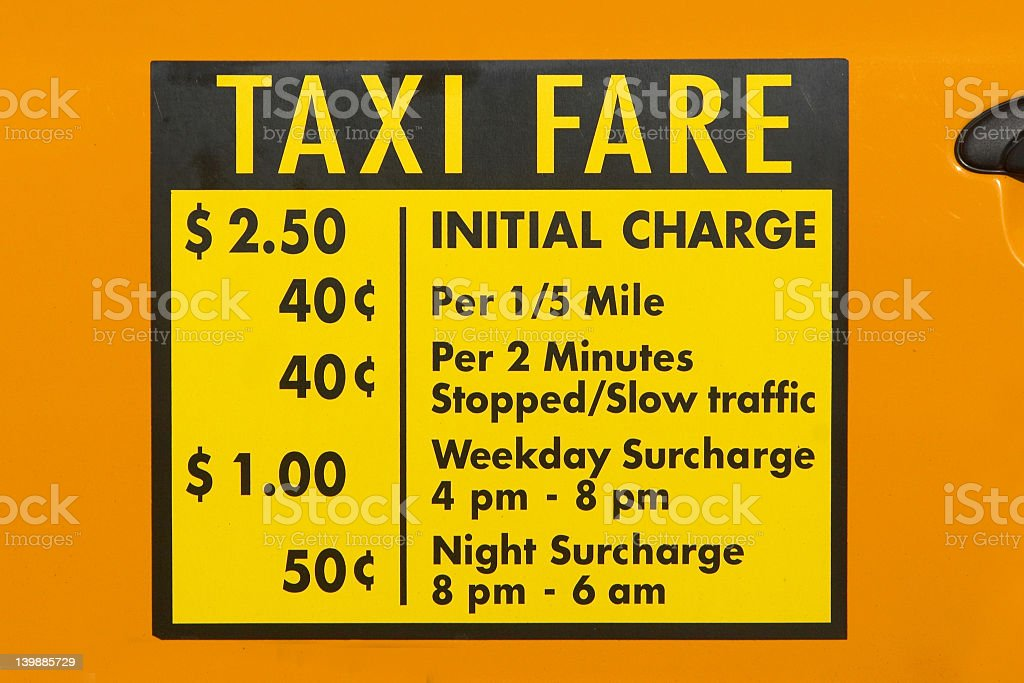 New York Taxi Fare Decal stock photo