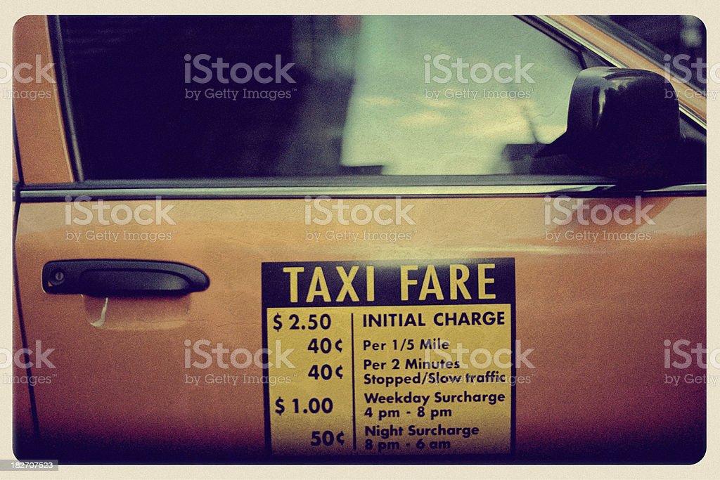New York Taxi - Vintage Postcard royalty-free stock photo