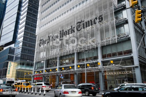 New York, USA- May 20, 2013: The front of The New York Times Building. Located on 620 8th Avenue in Midtown Manhattan.