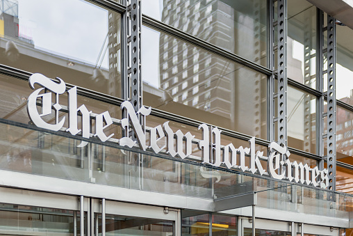 New York, NY, USA - May 24, 2014: New York Times Headquarters in Manhattan, New York City, USA. The New York Times is an American newspaper based in New York City with worldwide influence and readership.