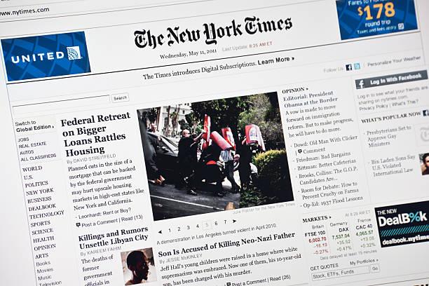 new york times hompage - new york times stock-fotos und bilder
