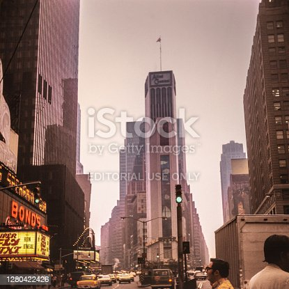 New York Times Square with skyline during the 1940's . Times Square is a major commercial intersection, tourist destination, entertainment center, and neighborhood in the Midtown Manhattan section of New York City, at the junction of Broadway and Seventh Avenue. Brightly lit by numerous billboards and advertisements, it stretches from West 42nd to West 47th Streets. New York City comprises 5 boroughs sitting where the Hudson River meets the Atlantic Ocean. At its core is Manhattan, a densely populated borough that's among the world's major commercial, financial and cultural centers. Its iconic sites include skyscrapers such as the Empire State Building and sprawling Central Park. Broadway theater is staged in neon-lit Times Square.