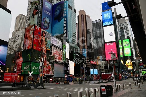 New York City, Midtown and Times Square desolate during pandemic, stay at home order. March 28, 2020