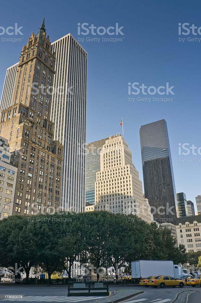 New York towers and taxis stock photo