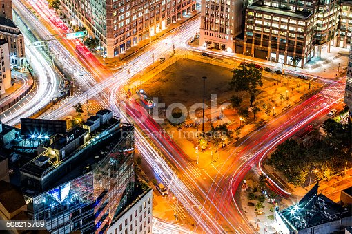 Top view in New York with traffic trails on Canal Street and Avenue of Americas