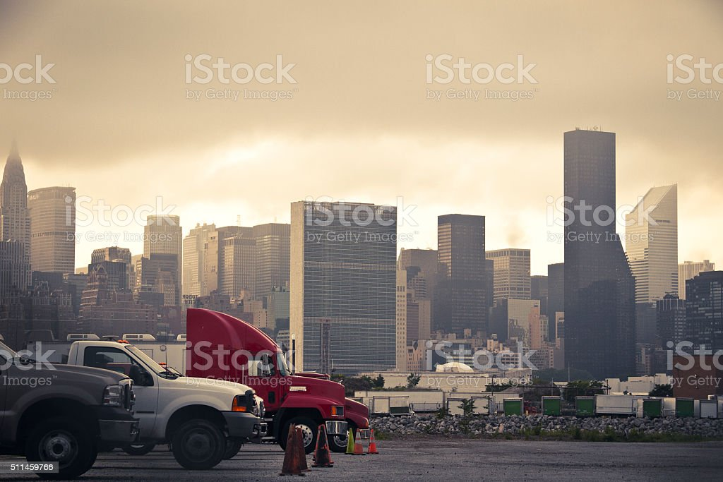 New York Trucking with Cityscape Backdrop stock photo