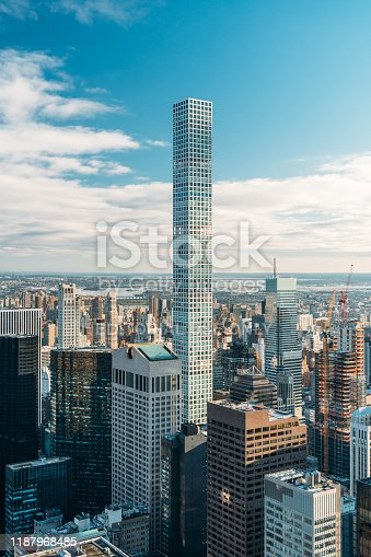 New York, United States, December 25, 2108: Aerial view of the building 432 Park Avenue - Vertical image