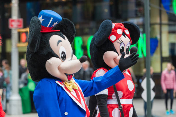 New York, United States-Octrober  10: Human Characters Dressed as Mickey and Miney Mouse Performing at Times Square in October 10, 2013