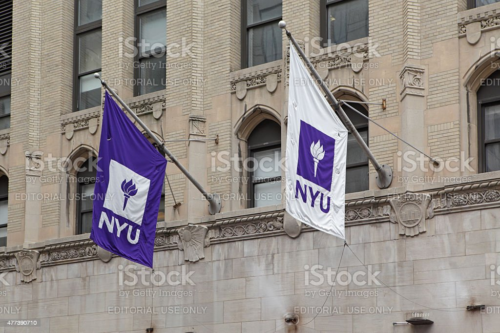 New York University flags and logos - Royalty-free 2015 Stock Photo