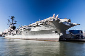 New York City-USA,October 7, 2016: New York Uptown, Intrepid Sea, Air and Space Museum. It is one of America`s leading historic and educational institutions and is opened since1982 and is centered on the aircraft carrier Intrepid.