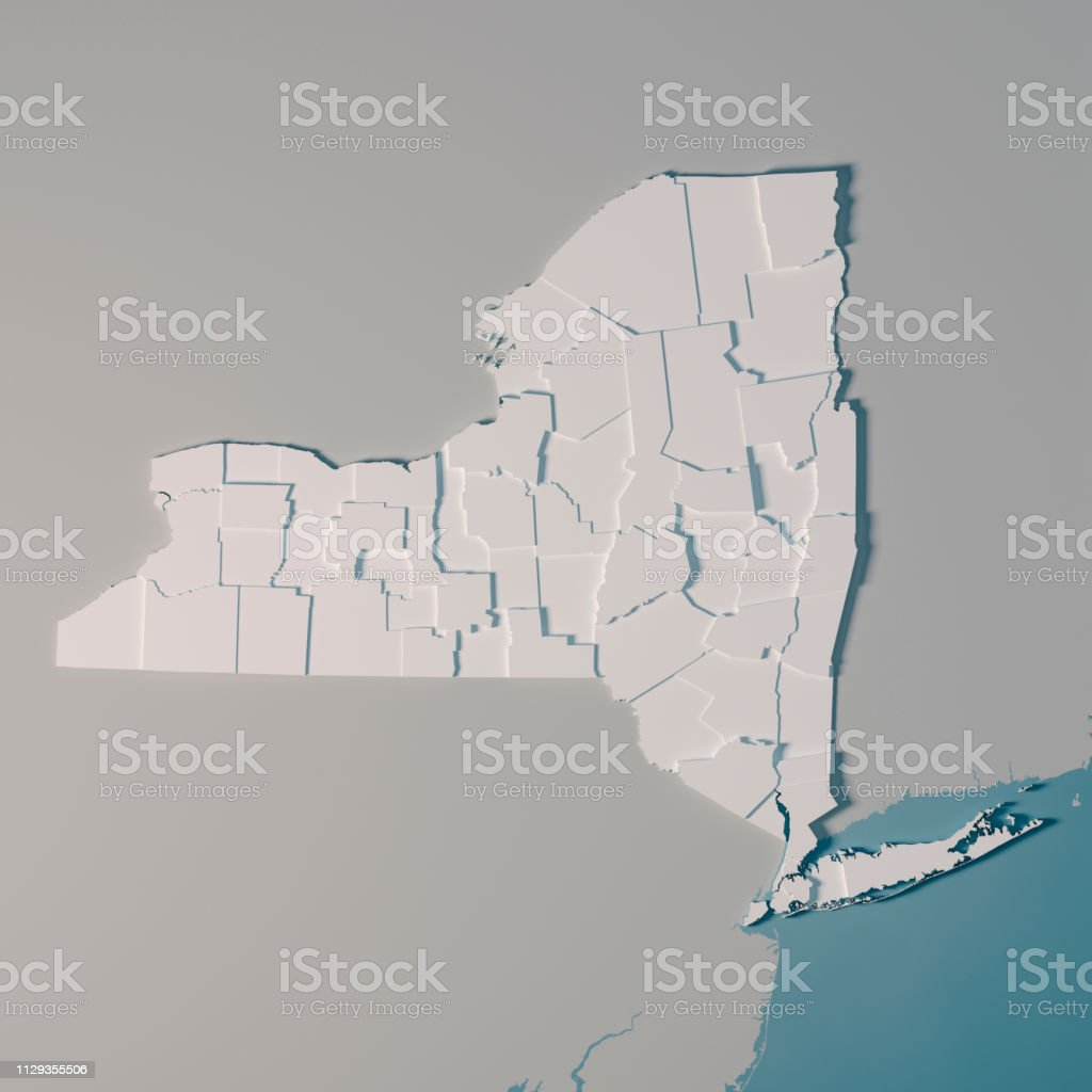 3D Render of an US State map of New York with the Administrative...
