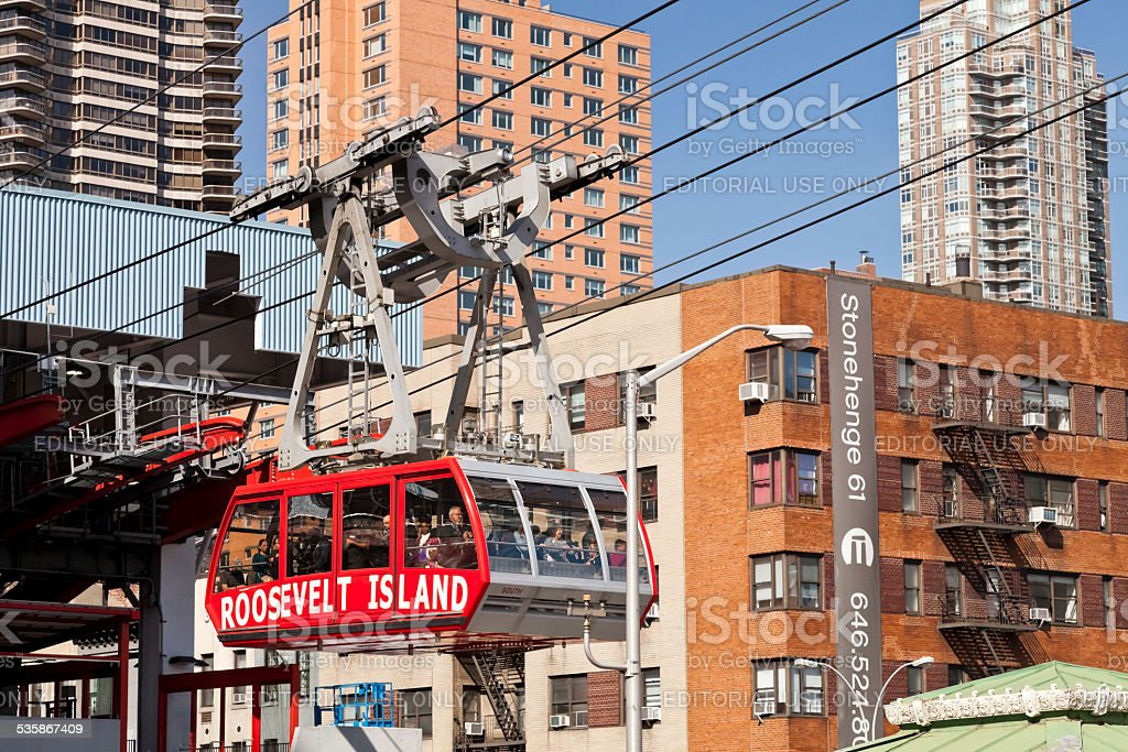 New York, USA - The famous Roosevelt Island cable tram stock photo