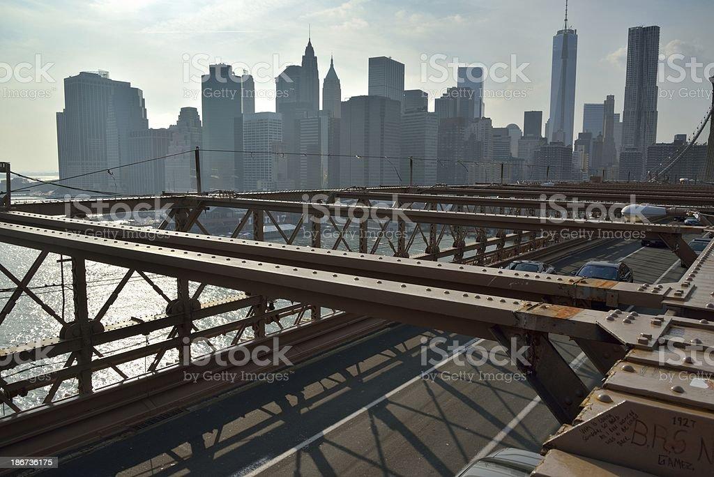 New York view from Brooklyn Bridge royalty-free stock photo