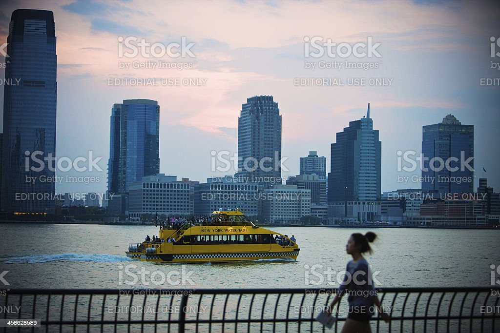New York Water Taxi on Hudson River stock photo