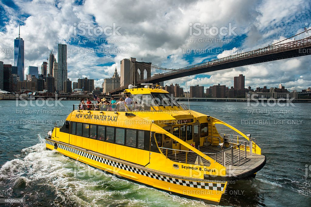 New York Water Taxi on the route stock photo