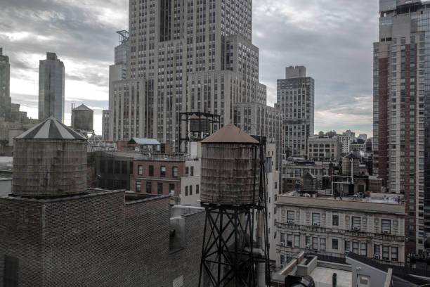 New York winter cityscape stock photo