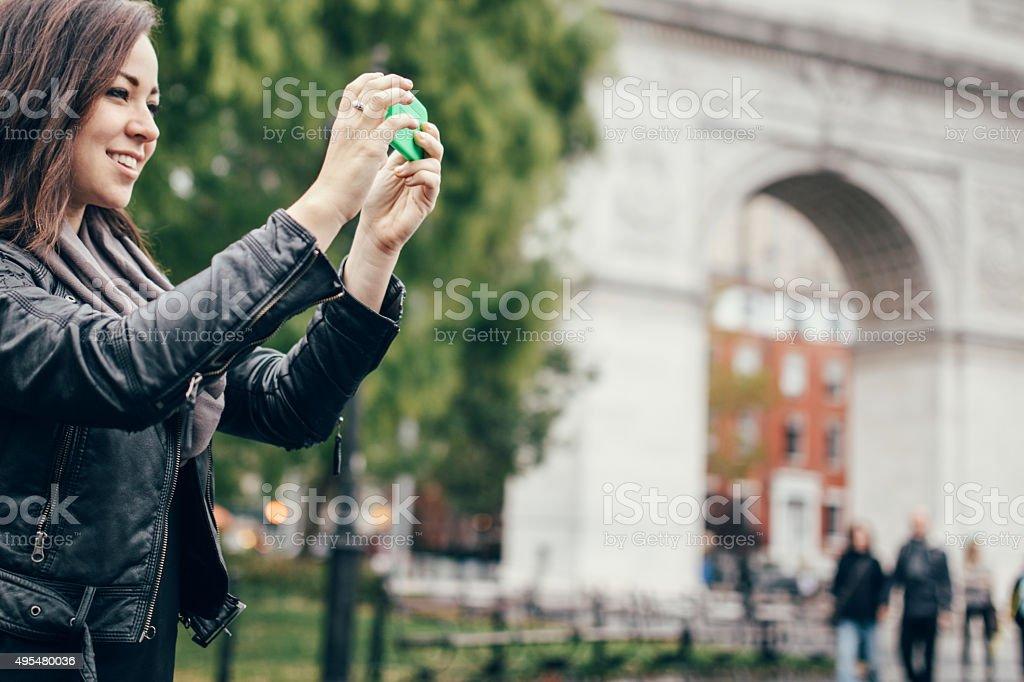 New York Woman in Washington Square Park stock photo
