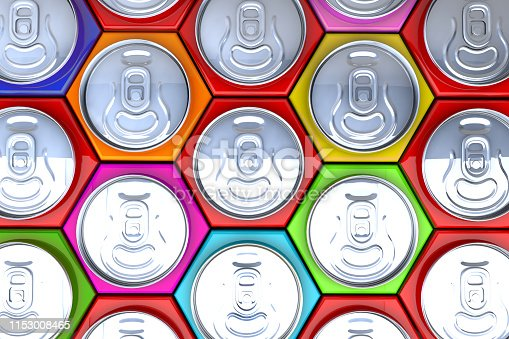 Innovative marketing idea: 3D triangle packaged color cans ranked on market shelves. New efficient packaging and stacking technology idea.