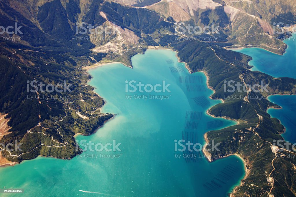 New Zealand aerial view stock photo