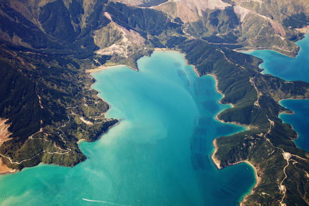 New Zealand aerial view New Zealand from a plane wellington new zealand stock pictures, royalty-free photos & images
