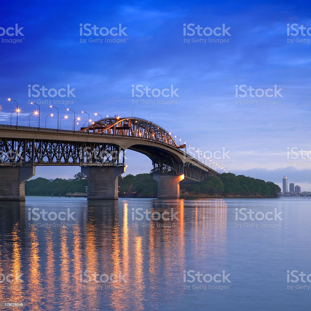 New Zealand Auckland Harbour Bridge at Twilight stock photo