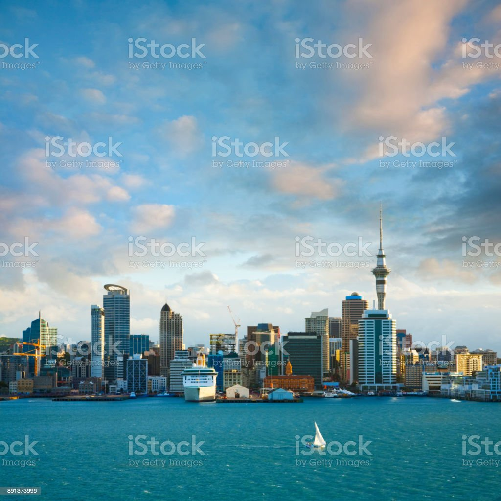 New Zealand Auckland Skyline at Sunset stock photo